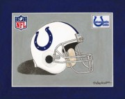 Football Helmets Posters - Indianapolis Colts Helmet Poster by Herb Strobino