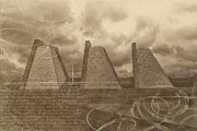Indiana Mixed Media Prints - Indianapolis Pyramids Textured 2 Print by David Haskett
