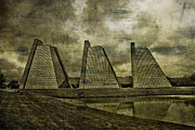 Indiana Mixed Media Metal Prints - Indianapolis Pyramids Textured Metal Print by David PixelParable