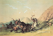 Plains Indians Framed Prints - Indians Attacking The Grizzly Bear Framed Print by Photo Researchers
