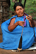 Indigena Framed Prints - Indigenous Guarani spinning. Department of Santa Cruz. Republic of Bolivia. Framed Print by Eric Bauer