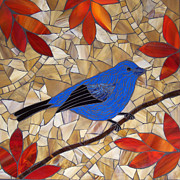 Stained Glass Art - Indigo Bunting by Barbara Benson Keith