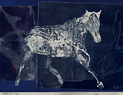 Collagraph Prints - Indigo Horse Print by Jo Tyler