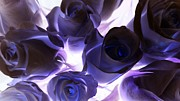 Purple Flora Digital Art Prints - Indigo roses Print by Sharon Lisa Clarke