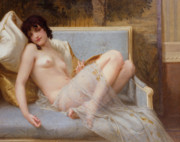 Reclining Female Nude Posters - Indolence Poster by Guillaume Seignac