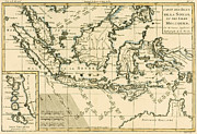 Vintage Map Drawings - Indonesia and the Philippines by Guillaume Raynal