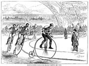 Spectator Prints - Indoor Bicycle Race, 1880 Print by Granger