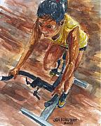 Bicycling Paintings - Indoor Cycling 101 by Jon Schaubhut