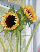 """indoor"" Still Life  Painting Posters - Indoor Sunflowers II Poster by Trina Teele"