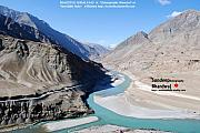 Indus River Sangam Or Meeting Point In Himalayas Of Incredible India Print by Sundeep Bhardwaj Kullu sundeepkulluDOTcom