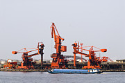 Peoples Republic Of China Photos - Industrial Cranes at Port by Sam Bloomberg-rissman