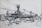 Industrial Drawings Framed Prints - Industrial Site Framed Print by Ylli Haruni