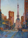 Monument Circle Prints - Indy Circle- Twilight Print by Donna Shortt