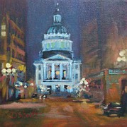 Donna Shortt Metal Prints - Indy Government Night Metal Print by Donna Shortt