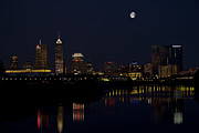 Indy Posters - INDY Skyline Night Moon Poster by David Haskett