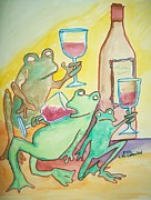 Wine Glasses Paintings - Inebriated Frogs by James  Christiansen