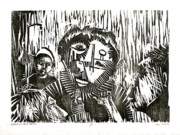 Wood Block Print Drawings - Infamous Blue Period  by Paul  Van Atta