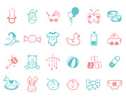 Moon Smiling Prints - Infant Icon Set Print by Eastnine Inc.