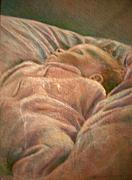 Nursery Pastels Posters - Infant in the Dawn Light of January Poster by Diane Woods