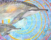 Kauai Artist Paintings - Infinite dolphin Universe by Tamara Tavernier