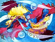 Yellow Fairy Painting Originals - Infinite Fishdance by Joyce Hutchinson