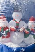 Snow Globe Framed Prints - Inflatable Snowman Globe Family Close-up Framed Print by James Forte