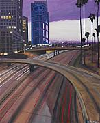 Down Town Los Angeles Framed Prints - Info Center  Framed Print by Keith Higgins