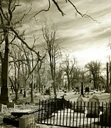 Creepy Digital Art Acrylic Prints - Infrared Cemetery Acrylic Print by Gothicolors With Crows