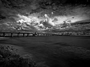 Infrared Photos - Infrared Longboat Pass Bridge by Rolf Bertram