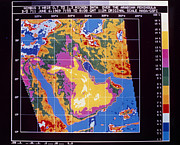 Arabia Posters - Infrared Map Of The Arabian Peninsula Poster by NASA / Science Source