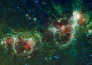 Cassiopeia Posters - Infrared Mosaic Of The Heart And Soul Nebulae In The Constellation Cassiopeia Poster by Stocktrek Images
