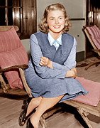 Candid Portraits Prints - Ingrid Bergman Lounges On Ship Deck Print by Everett