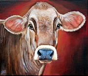Bull Paintings - Ingrid by Laura Carey