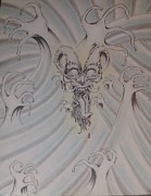 Ink And Pastel Oriental Style Dragon And Waves Print by Andrew Longhi