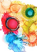 Alcohol Ink Prints - Ink Blossoms Print by Christine Crawford