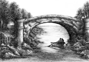 Fence Drawings Framed Prints - Ink Drawing of Old Bridge Across a Small River Framed Print by Evelyn Sichrovsky