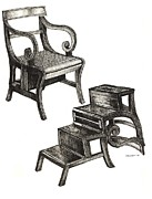 Rendering Drawings Prints - Ink drawing of Regency Metamorphic chair Print by Lee-Ann Adendorff
