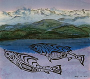Salmon Tapestries - Textiles - Inland Passage by Carolyn Doe