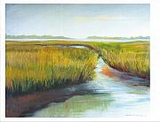 Marsh Scene Paintings - Inlet View by Shirley Lawing