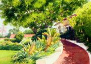 Southern California Paintings - Inn at Rancho Santa Fe by Mary Helmreich