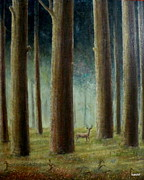 Religious Artwork Painting Originals - Innocent in woods by Syed kashif Ahmad
