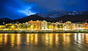 Inn River Framed Prints - Innsbruck At Night Framed Print by John B. Mueller Photography