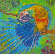Parrot Tapestries - Textiles Metal Prints - Inquisitive Metal Print by Kelly     ZumBerge