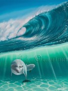 Dolphin Surfing Paintings - Inquisitive by Wayne French