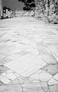 Inscription In The Floor Tile Of The Gymnasium Stoa Ancient Site Salamis Famagusta Print by Joe Fox