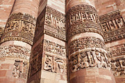 Qutb Posters - Inscriptions carved int the Qutub Minar Tower Poster by Bryan Mullennix