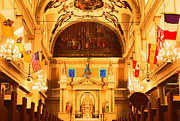 Byzantine Digital Art Acrylic Prints - Inside St louis Cathedral Jackson Square French Quarter New Orleans Film Grain Digital Art Acrylic Print by Shawn OBrien