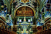 Byzantine Digital Art Prints - Inside St louis Cathedral Jackson Square French Quarter New Orleans Glowing Edges Digital Art Print by Shawn OBrien