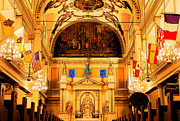 Inside St Louis Cathedral Jackson Square French Quarter New Orleans Ink Outlines Digital Art Print by Shawn OBrien