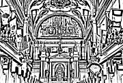 Photocopy Prints - Inside St louis Cathedral Jackson Square French Quarter New Orleans Photocopy Digital Art Print by Shawn OBrien